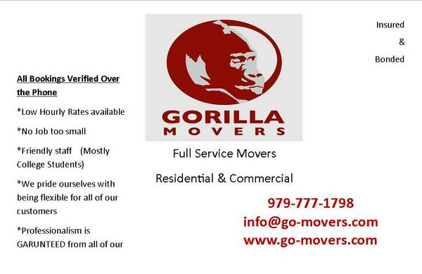 GORILLA MOVERS (COLLEGE STATION BRYAN)