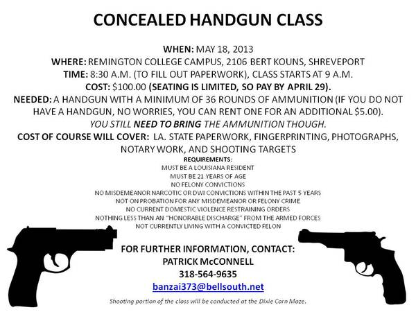 Concealed Carry Course 5 18  Shreveport