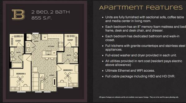 614   855ft sup2  - OPEN ROOM IN LEGENDS APARTMENTS  1411 North Street