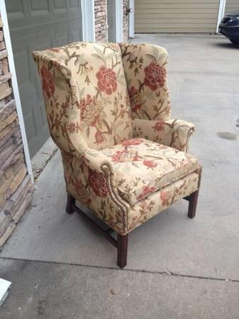 Vintage Wing Chair with Crewel Fabric -   x0024 80  Frisco