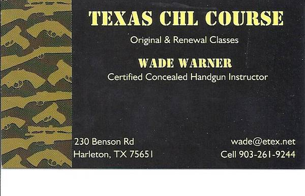 CHL 1 Day Course  Sat 2-15-14  9AM till Done Appr  2PM -   x0024 80  Harleton Diana