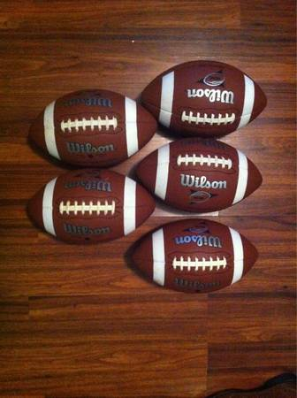 5 Wilson NCAA official size composite leather footballs -  90