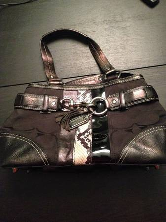 Coach Purse- Black with Snakeskin accent - $150 (Dallas)