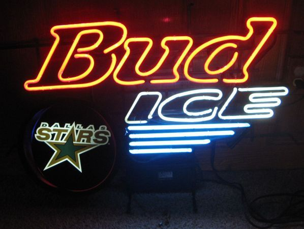 Large Bud Ice Dallas Stars Neon Sign Budweiser Man Cave - $250 (Mt. Vernon)