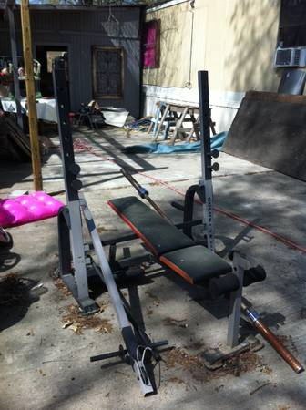 Olympic style weight bench and weight set - $200 (Lufkin tx)