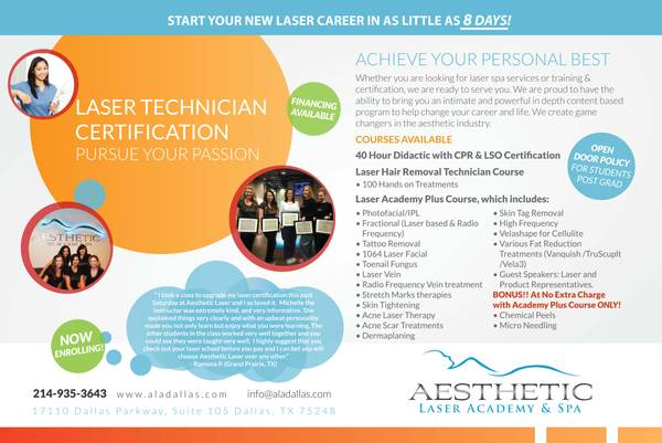 Aesthetic Laser Academy Laser Certified in 8 Days-Financing Available   North Dallas