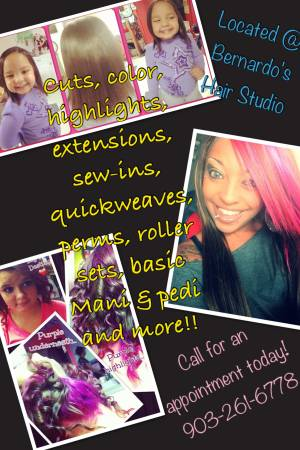 Haircuts  color  highlights  perms quickweaves  sewins  feathers more   Longview  Tx