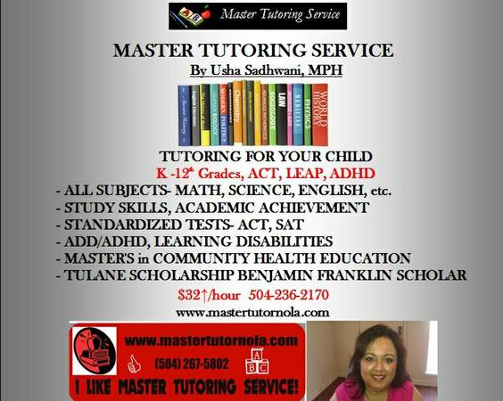 PROFESSIONAL TUTOR  ACADEMIC COACH   New Orleans  Metairie  Westbank