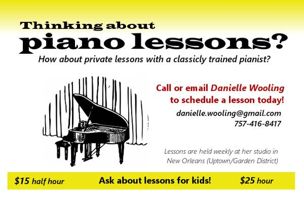Piano Lessons for Adults and Children  uptown new orleans