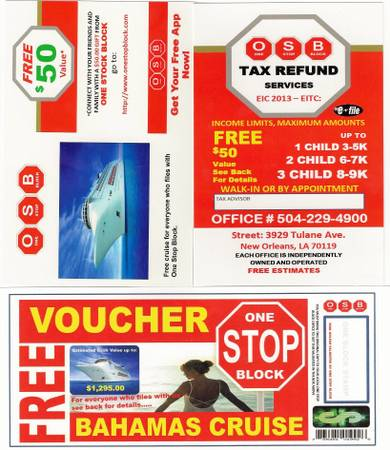 ONE STOP BLOCK TAX SEERVICE- FREE CRUISE  new orleans