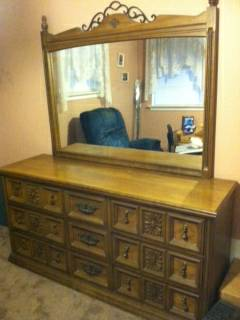 Solid Oak Dresser with Mirror, Chest of Drawers and Night Stand - $350 (Kenner)