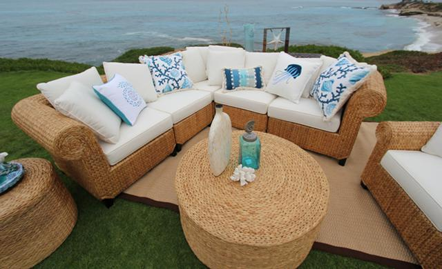 2 996  SEAGRASS  5-Piece Sectional  Handwoven in Bali  100 Money Back Guarantee  FREE SHIPPING