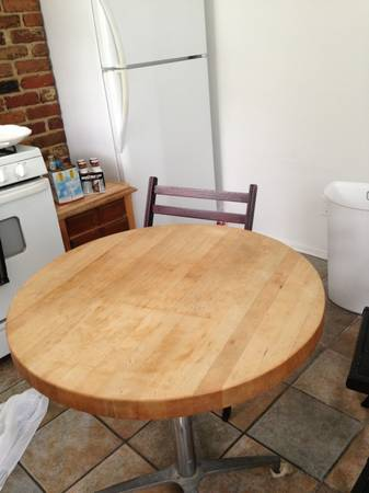 Butcher block table - $150 (Uptown)