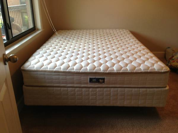 Queen mattress with box spring and rails from Serta - $265 (Metairie)