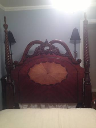 Queen Bedroom Set- Cherry Antique Reproduction style w Inlay