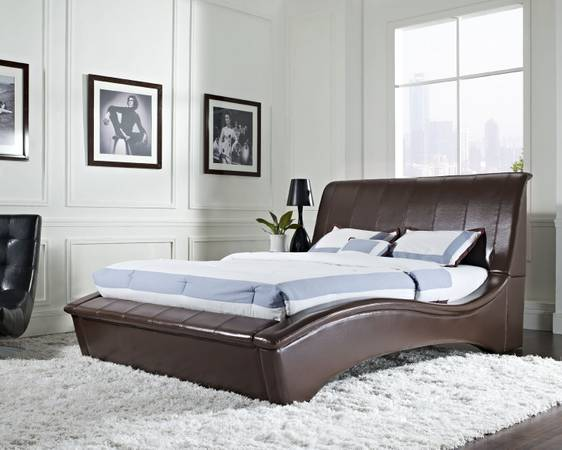 NEW ARRIVAL - Black Leather Curvaceous Bed - NEW, NOT USED - $429 (Metairie-NECESSITY FURNITURE WAREHOUSE)