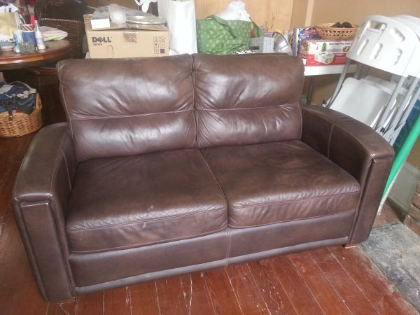 Leather Loveseat, Chair, 3 Leaf Oval Dining Table, 2 tables - $250 (Irish Channel)