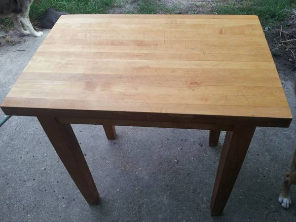 Butcher Block Cutting Board Table - $180 (Slidell)