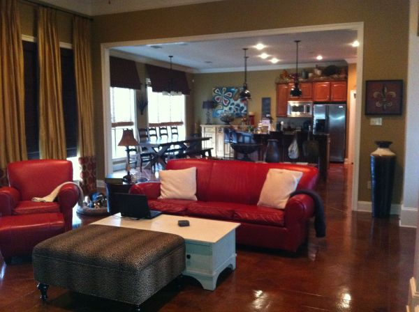 Pottery Barn Manhattan Leather Sofa, Chair and Ottoman Cherry Red - $1000 (Mandeville)