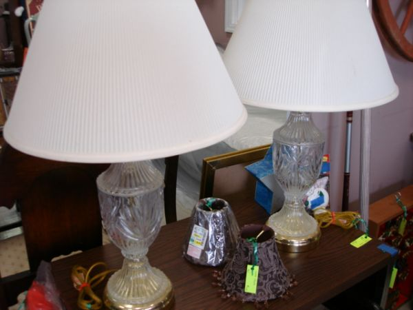 LAMPS WITH LAMP SHADE...GLASS BASE...ONLY $10.00 EA (KENNER)