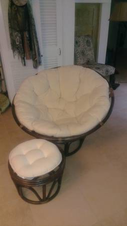 Pier 1 Papasan chair and footstool - $75 (Uptown)