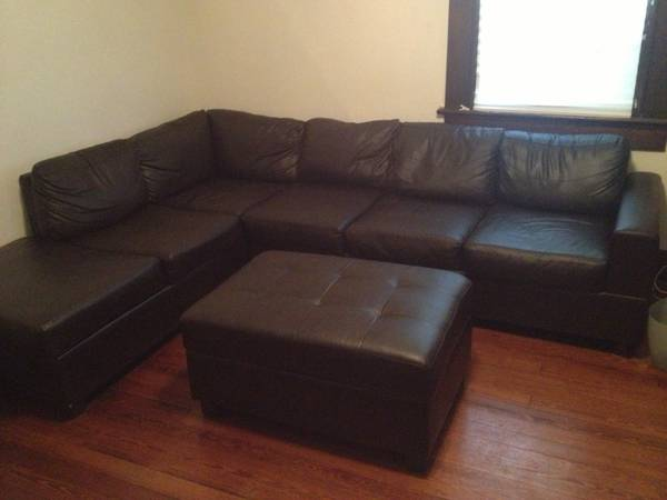 L-Shaped Leather Couch with Ottoman - $300 (UptownCarrollton)