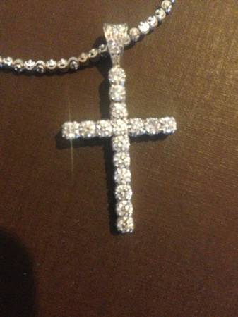 Diamond and white gold cross and chain -   x0024 2400