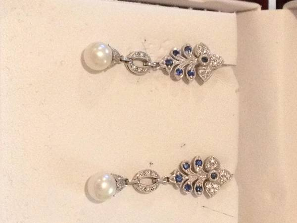 Diamond  Pearl  Sapphire Earrings  -   x0024 300  Metairie