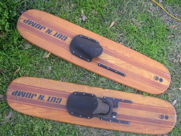 Pair Vintage Wood Cut N Jump Water Skis - $30 (Old Jefferson)