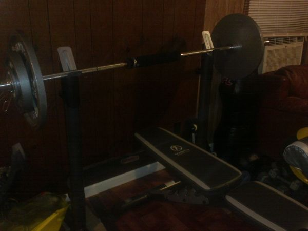 300lbs olympic weight set and 2 piece olympic bench - $200 (slidell)