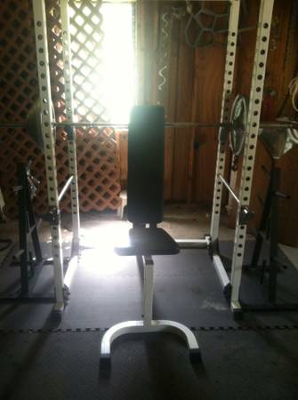 Squat rack, bench, olympic weight set - $650