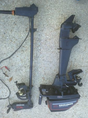 7.5 HP GAMEFISHER OUTBOARD AND 24 LBS. THRUST TROLLING MOTOR - $400 (METAIRIE)