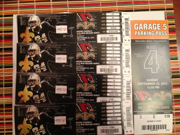 4 saints vs cardinals lower tickets with level three parking pass - $500 (section 137 row 26 seats 24,25,26,27)