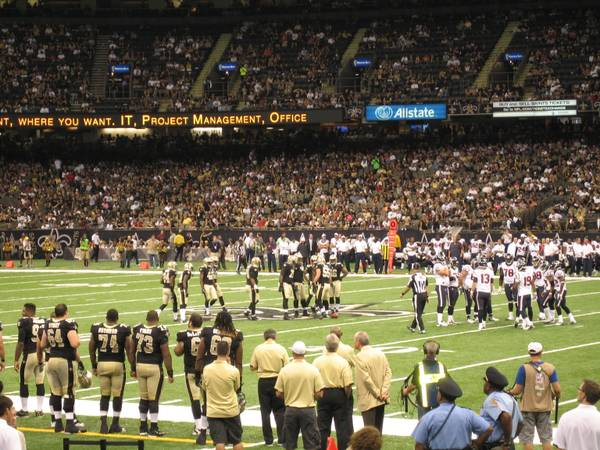 2 LOWER PLAZA SIDELINE CLUB AISLE Tickets NEW ORLEANS Saints All Games - $298 (SEC 140 ROW 9 w PLAZA VIP LOUNGE PASS)