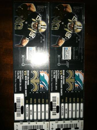 2 SAINTS VS DOLPHINS MNF LOWER LEVEL TICKETS - $1 (METAIRIE)