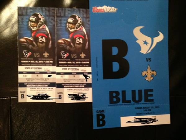 TWO TICKETS AND PARKING TEXANS VS NEW ORLEANS SAINTS 825 IN HOUSTON - $249 (NORTH HOUSTON)