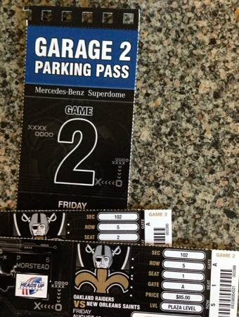 2 Saints vs Raiders w Parking Pass 5th Row from the Field - $1 (Section 102, Row 5)