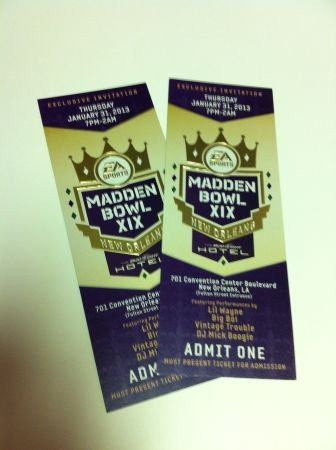2 Madden Bowl Party Tickets - Best Super Bowl Party w Lil Wayne - $800 (Bud Light Hotel)