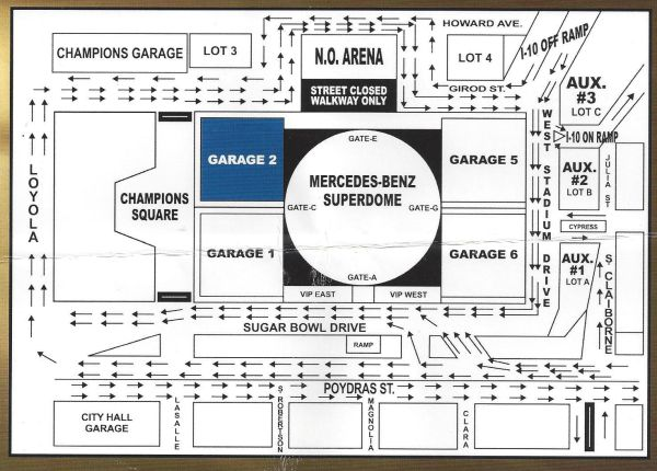 New orleans saints parking pass espotted for Garage ad orleans