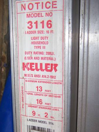 Keller Aluminum 16 13 Max. Extension Ladder - $20 (Northshore Covington Area)