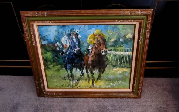 ESTATE Horse Racing Oil Painting - $45 ( Old Metairie, La)