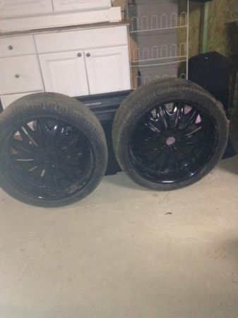 24 INCH GLOSS BLACK RIMS AND TIRES - $1200 (SLIDELL)
