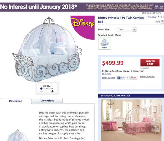 Disney Princess Twin Carriage Bed - $350 (Covington, Louisiana)