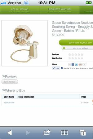 Graco Sweetpeace Soothing Swing For Sale