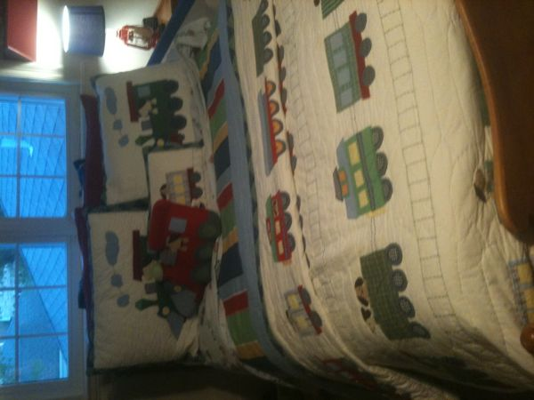 POTTERY BARN KIDS FULL SIZE TRAIN SET AND RUG SET - $285 (METAIRIE)