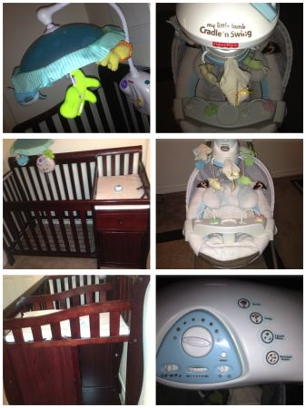 convertible crib, changing table, musical motor, swing and cradle - $300 (New Orleans, LA)