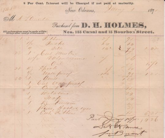 1870 D.H.Holmes Bill - $75 (Garden District)