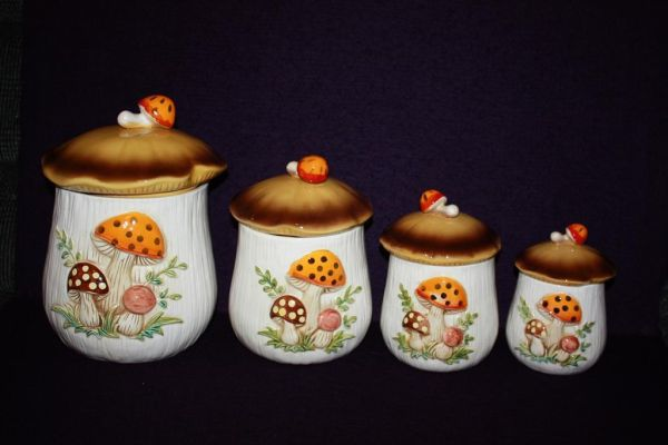 Vintage Merry Mushroom Four Piece Canister Set - $35 (Gentilly by Brother Martin HS)