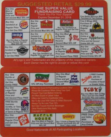 Restaurant Fast Food Discount Coupon Card Good 5 Yrs 2018 - $25 (Metairie)