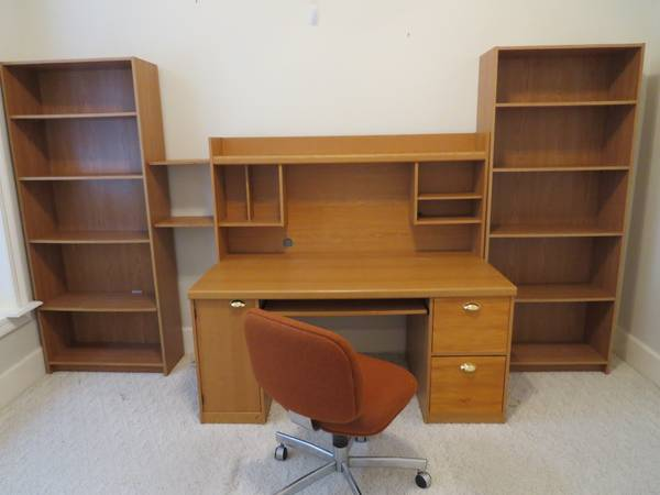 Desk -Chair-Bookcases - $75 (Lake Ramsey)